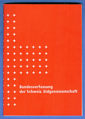 Law of Switzerland - Cover of the Swiss Federal Constitution of 18 April 1999 (version in German).
