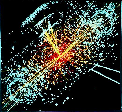Simulated Larege Hadron Colliger CMS particle detector data depicting a Higgs boson produced by colliding protons decaying into hadron jets and electrons