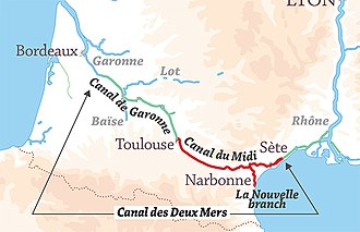 Canal du Midi - Location of the Canal du Midi and its branch to Port-la-Nouvelle, part of the Canal des Deux Mers route from the Mediterranean Sea to the Atlantic