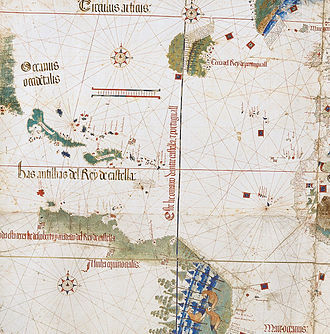 Cantino planisphere - West and the recently reached Americas, Tordesillas line depicted - Cantino planisphere detail