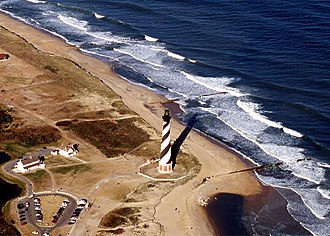 Cape Hatteras - An aerial view of the Cape Hatteras Lighthouse prior to its 1999 relocation