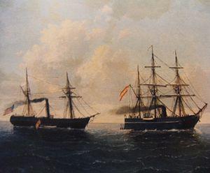 Spanish corvette Tornado - U.S steamer Virginius surrenders to the Spanish corvette Tornado. Oil on canvas 1873.