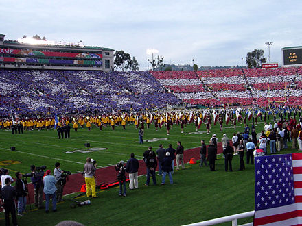 Large card stunt[25] performed at the 2004 Rose Bowl Game - Rose Bowl Game