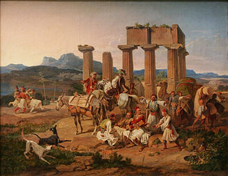 Carl Wilhelm von Heideck - Carl Wilhelm von Heideck - Palicars in front of the Tempel at Corinth