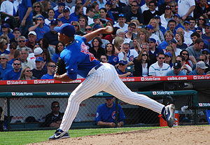English: Carlos Marmol pitching for the Chicag...