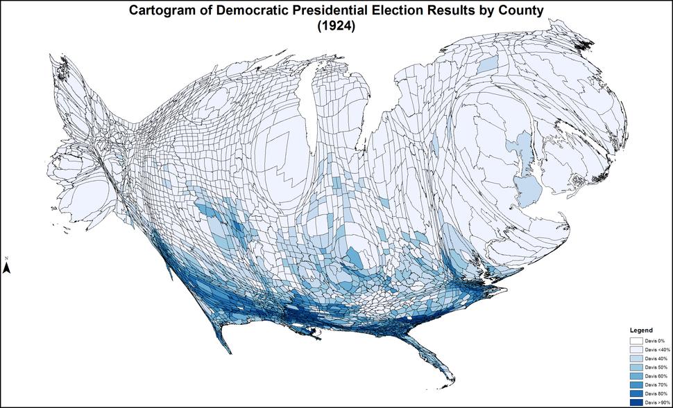 CartogramDemocraticPresidentialCounty1924Colorbrewer