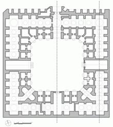 Voorbeeld van 'n vloerplan van 'n karavanserai