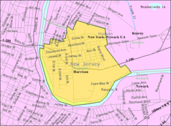 Census Bureau map of Harrison, New Jersey