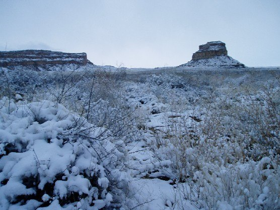 Chaco Canyon Fajada Butte in snow NPS