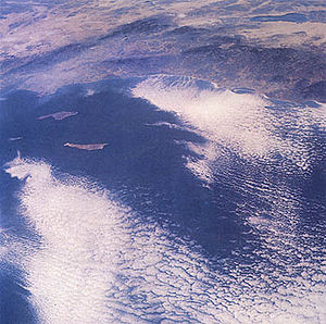 San Clemente Island - View from space of Southern California coast, showing Santa Catalina Island (closer to mainland) and San Clemente Island (farther from mainland).