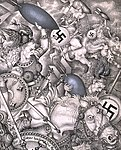 Character detail, Arthur Szyk (1894-1951). The Nibelungen series, Ride of the Valkyries (1942), New York (cropped).jpg