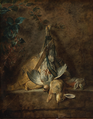 Chardin - A Still Life Two Rabbits, a Grey Partridge, Game Bag and a Powder Flask, 1731.png