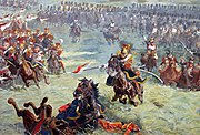 Charge des lanciers de la Garde à Waterloo (détail du Panorama de Waterloo)