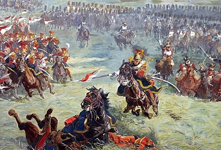 2nd Guard Lancers with the Grenadiers a Cheval in support Charge des lanciers de la Garde a Waterloo (detail du Panorama de Waterloo).jpg