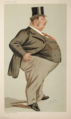 """Charles Isaac Elton - """"Court Roll"""". Caricature by Spy published in Vanity Fair in 1887."""