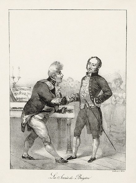 George IV (left) greeting Rossini at the Brighton Pavilion, 1823 Charles Motte - Rossini et Georges IV - la soiree de Brighton.jpg