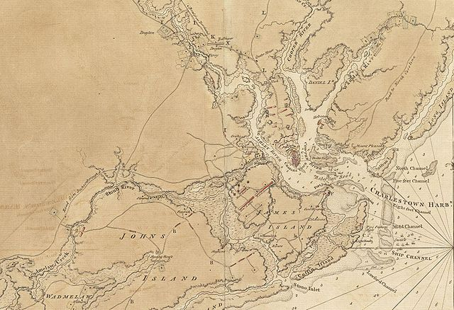 Map of Charleston, South Carolina and the surrounding area circa 1780.