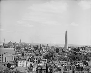 Charlestown, Boston - Birdseye view of Boston, Charlestown, and Bunker Hill, between 1890 and 1910
