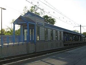 Cheltenham (Metra station) - Cheltenham-79th Street Metra Electric Station as seen from northbound Exchange Avenue.