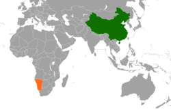 Map indicating locations of China and Namibia