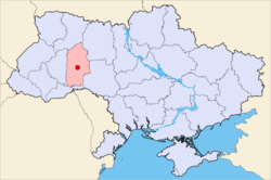 Location of  Khmelnytskyi, Ukraine  (orange)