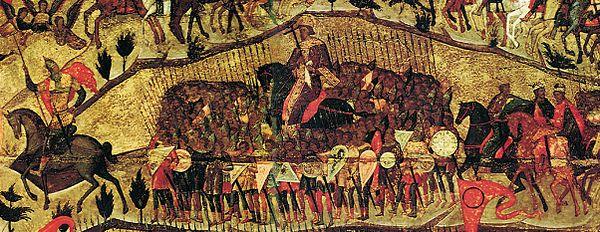 Центральный ряд воинов. Слева направо: Иван Грозный, Владимир Мономах (или Константин Великий), князь Владимир, Борис и Глеб