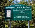 Church of St Andrew's, Boreham, Essex - exterior noticeboard.jpg