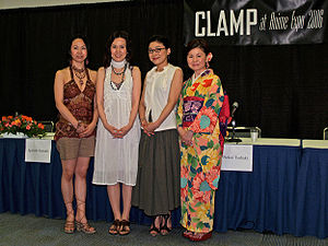 Clamp (manga artists) - Clamp at the Anime Expo 2006. (from left to right) Satsuki Igarashi, Nanase Ohkawa, Tsubaki Nekoi, Mokona.
