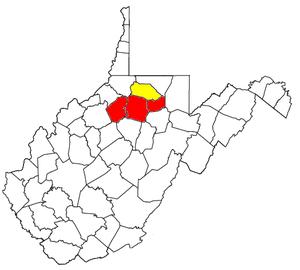 Clarksburg micropolitan area - Image: Clarksburg Micropolitan Area and Fairmont Clarksburg CSA