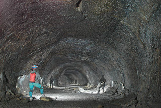 Cave formed in volcanic rock, especially one formed via volcanic processes