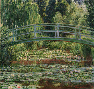 Japonism - Claude Monet's garden in Giverny with the Japanese footbridge and the water lily pool (1899)