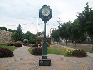 Mitchell, South Dakota - The clock at Rotary Park, across the street from the Corn Palace