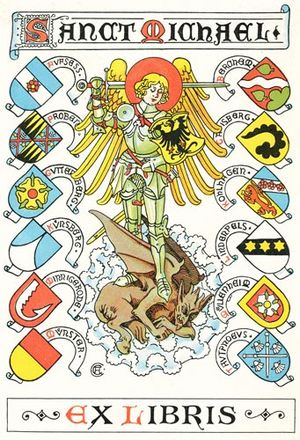 Gustav Adolf Closs - Heraldic book plate for the Verein Sanct Michael