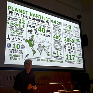Mike Gunton - Mike Gunton presenting a talk about Planet Earth II at the Cambridge University Zoology Department in September 2017