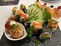 Coimbran version of sushi decorated with strawberries, fruit jam, currants... (49066459632).jpg