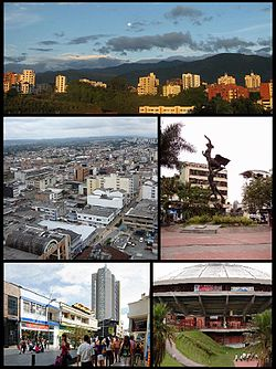 Top:View of Mountain near by Calarca Historic area, from Quindio University area, Middle left:View of downtown Calle 15 and 17 area, from Quindio Regional Department Office, Middle right:Estuerzo Monument in Armenia Bolivar Square (Plaza de Bolivar), Bottom left:Centro Commercial Cield Abiertos (Armenia Central Shopping mall), Bottom right:Armenia Coliseum Cafe (Coliceo del Cafe)
