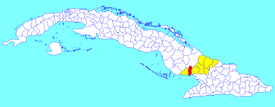 Colombia municipality (red) within  Las Tunas Province (yellow) and Cuba