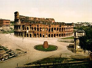 Meta Sudans - Colosseum and Meta Sudans, Rome, Italy, 1890s