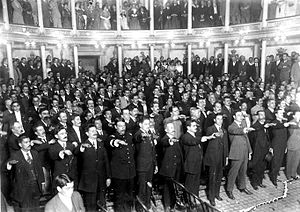 Constitution of Mexico - The new constitution was approved on 5 February 1917, and it was based in the previous one instituted by liberal Benito Juárez in 1857. This picture shows the Constituent Congress of 1917 swearing fealty to the newly created Constitution.