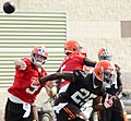 Connor Shaw passes ball at 2014 Browns training camp.jpg