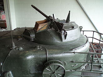 Gun turret - The commander's cupola of a Conqueror tank with a machine gun.