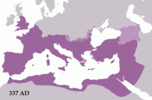 Constantine the great wikipedia the roman empire in 337 showing constantines conquests in dacia across the lower danube shaded purple and other roman dependencies light purple fandeluxe Images