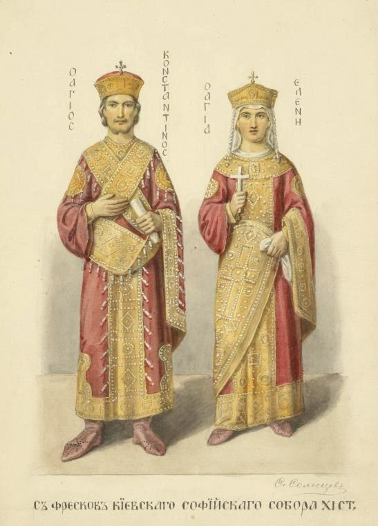 Constantine the Great and St. Helena from Kievan frescoes