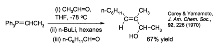 An example of the Schlosser variant of the Wittig reaction