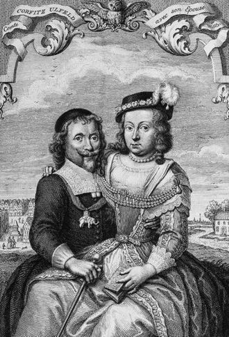 Leonora Christina Ulfeldt - Portrait of Leonora Christina Ulfeldt and her husband Corfitz by Jacob Folkema (c. 1746).