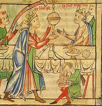 Henry the Young King - At his coronation banquet, the Young King is served by his father, King Henry II.