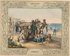 Turkish salvar - Syrian Ottoman costumes 1839 - 1840