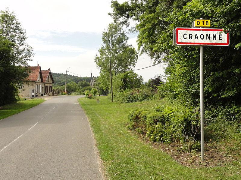 Craonne (Aisne) city limit sign