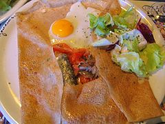 galette with egg and fish