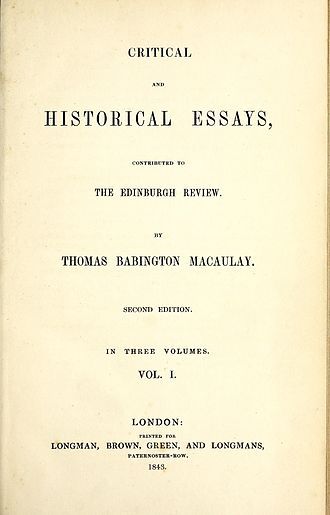 Critical and Historical Essays (Macaulay) - Title page of the 1843 second edition
